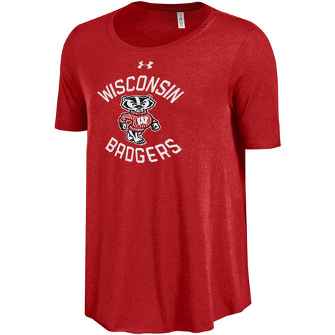Wisconsin Badgers Under Armour WOMEN Red HeatGear Loose Soft Anti-Odor T-Shirt