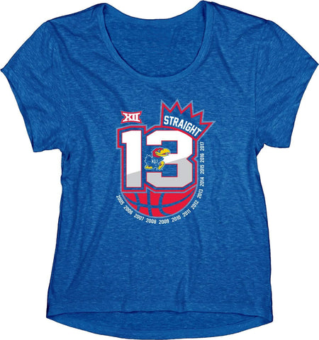 Kansas Jayhawks WOMEN 13 Straight Basketball Conf Champions Crown T-Shirt