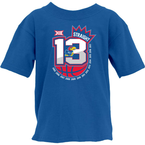 Kansas Jayhawks 13 Straight Basketball Conf Champions Crown YOUTH T-Shirt