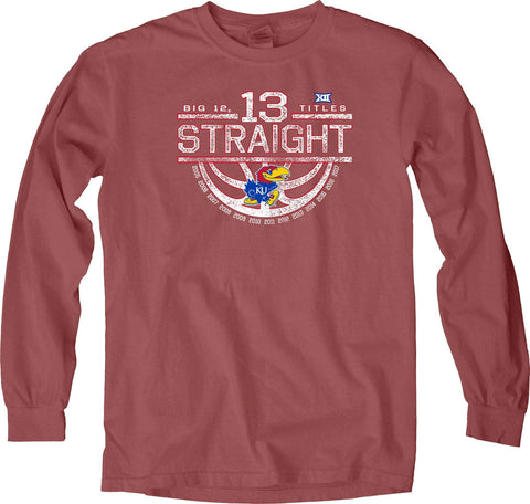 Kansas Jayhawks 13 Straight Big 12 Basketball Champions Long Sleeve Red T-Shirt