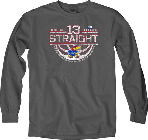Kansas Jayhawks 13 Straight Big 12 Basketball Champs Long Sleeve Gray T-Shirt