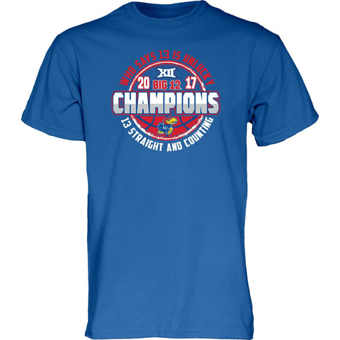 Kansas Jayhawks 13 Straight & Counting Big 12 Basketball Champions Blue T-Shirt
