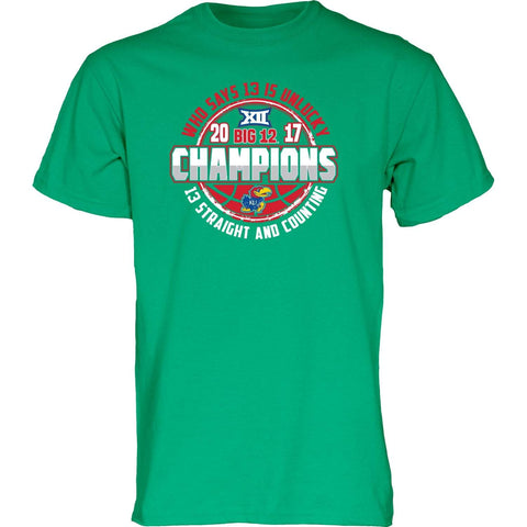 Kansas Jayhawks 13 Straight & Counting Big 12 Basketball Champions Green T-Shirt