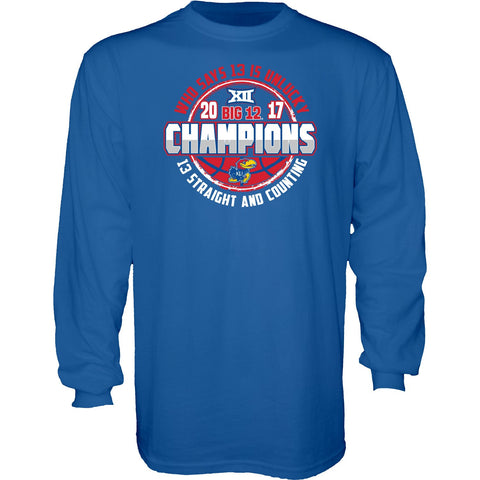 Kansas Jayhawks 13 Straight & Counting Big 12 Basketball Champs Blue LS T-Shirt