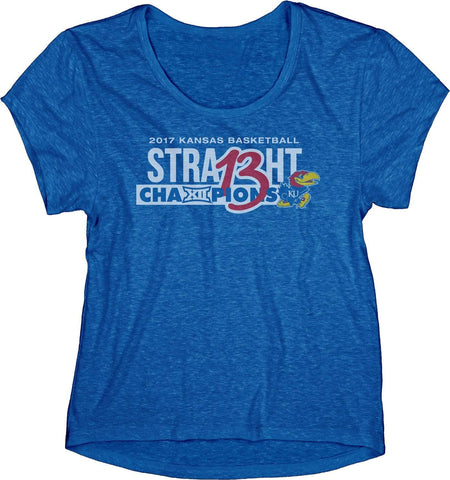 Kansas Jayhawks 13 Straight Basketball Big 12 Champion WOMEN Blue T-Shirt