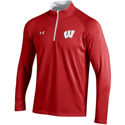 Wisconsin Badgers Under Armour Red Lightweight Loose Soft 1/4 Zip Pullover