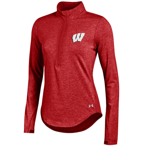 Wisconsin Badgers Under Armour WOMEN Lightweight Fitted Soft 1/4 Zip Pullover