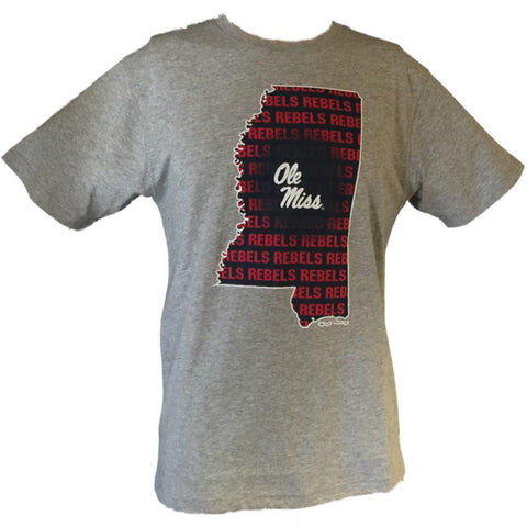 Ole Miss Rebels Colosseum Gray State Outline Short Sleeve Cotton T-Shirt