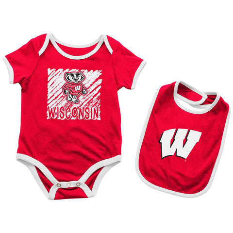 Wisconsin Badgers INFANT BABY One Piece Bodysuit Outfit & Bib Set
