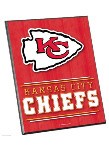 "Kansas City Chiefs WinCraft Red Wood Beveled Foil-Edge Easel Sign (8"" x 10"")"