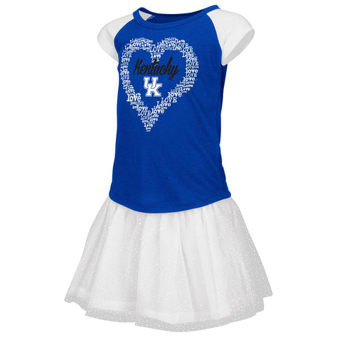 Kentucky Wildcats Colosseum TODDLER Girls Blue Heart T-Shirt & Tutu Outfit Set