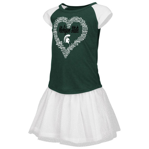 Michigan State Spartans Colosseum TODDLER Girls Heart T-Shirt & Tutu Outfit Set