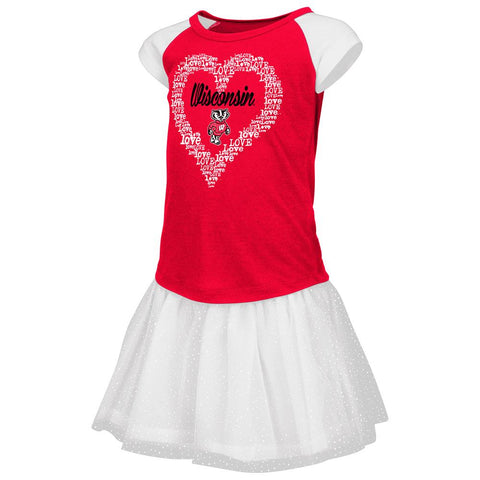 Wisconsin Badgers Colosseum TODDLER Girls Red Heart T-Shirt & Tutu Outfit Set