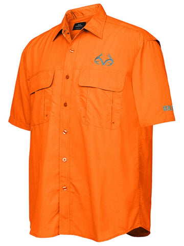 Realtree Camouflage Colosseum Orange Button Up Mesh Lined Collared Fishing Shirt