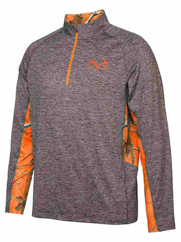 Realtree Camouflage Colosseum Gray Orange Light Loose 1/4 Zip Pullover Windshirt