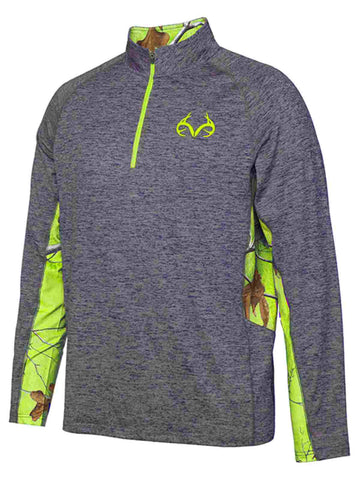 Realtree Camouflage Colosseum Gray Green Light Loose 1/4 Zip Pullover Windshirt