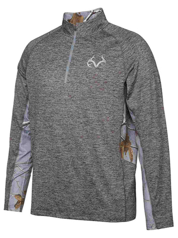 Realtree Camouflage Colosseum Gray Steel Light Loose 1/4 Zip Pullover Windshirt