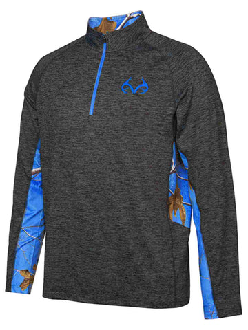 Realtree Camouflage Colosseum Black Blue Light Loose 1/4 Zip Pullover Windshirt