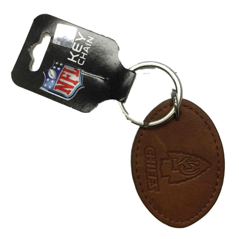 Kansas City Chiefs NFL Brown Leather with Stamped Logo Oval Keychain