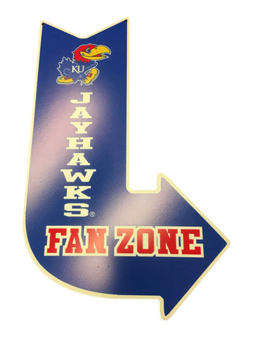 "Kansas Jayhawks Hanna's Handiworks Blue Metal ""Fan Zone"" Right Arrow Wall Sign"