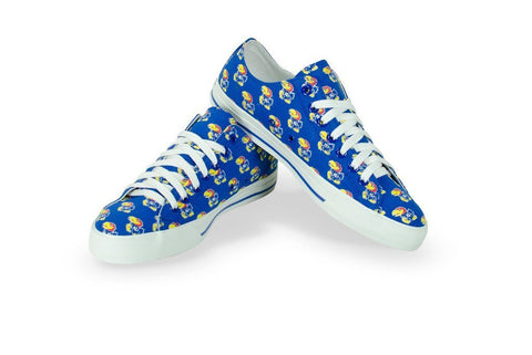 Shop Kansas Jayhawks Row One Blue Women Multi Logo Canvas Lace Up Shoes