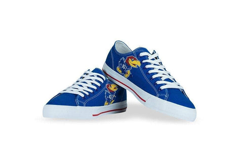 Shop Kansas Jayhawks Row One Blue Unisex Canvas Single Logo Lace Up Shoes