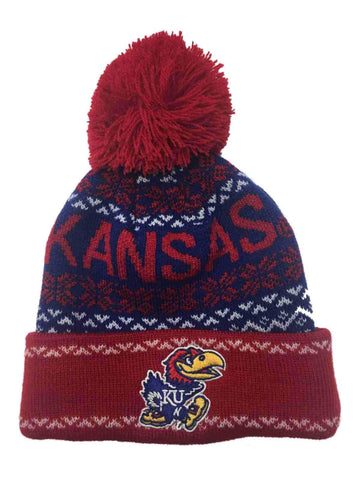 Shop Kansas Jayhawks TOW YOUTH Rookie Red & Blue Cuffed Pom Pom Beanie Hat Cap - Sporting Up