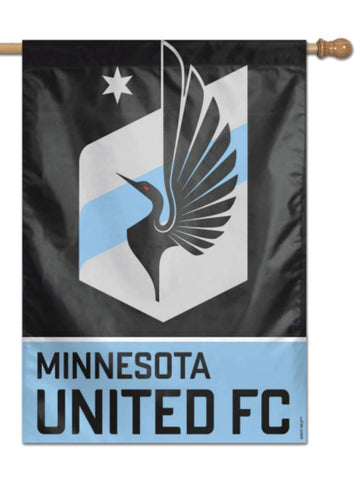 "Minnesota United FC WinCraft Black Light Gray Light Blue Vertical Flag (28""x40"")"