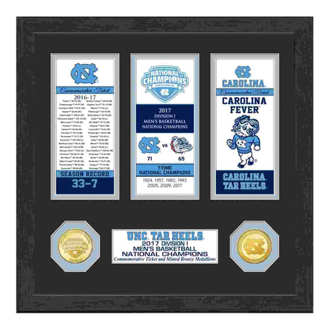 North Carolina Tar Heels 2017 Basketball Champs Bronze Coin & Ticket Collection
