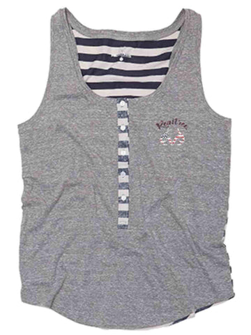 Shop Realtree Camouflage WOMEN Heather Gray Navy Stripe USA Button Up Tank Top - Sporting Up