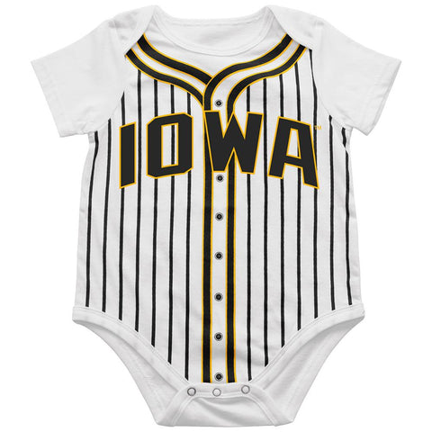 Iowa Hawkeyes BABY INFANT White Black Striped Baseball Style One Piece Outfit