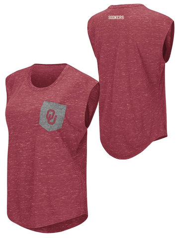 Oklahoma Sooners Colosseum WOMEN Red Distressed Pocket Capped Sleeve T-Shirt - Sporting Up