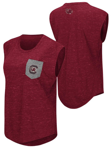 Shop South Carolina Gamecocks Colosseum WOMEN Red Pocket Capped Sleeve T-Shirt - Sporting Up