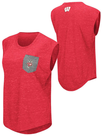 Shop Wisconsin Badgers Colosseum WOMEN Red Distressed Pocket Capped Sleeve T-Shirt