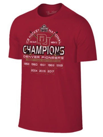 Shop Denver Pioneers 2017 Hockey Frozen Four 8 Time Champions Banner Red T-Shirt