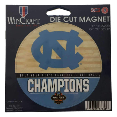 Shop North Carolina Tar Heels 2017 NCAA Basketball Champions Round Die Cut Magnet - Sporting Up