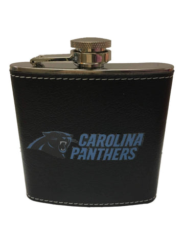 Carolina Panthers Boelter Brands 6oz Stainless Steel Black Leather Wrapped Flask