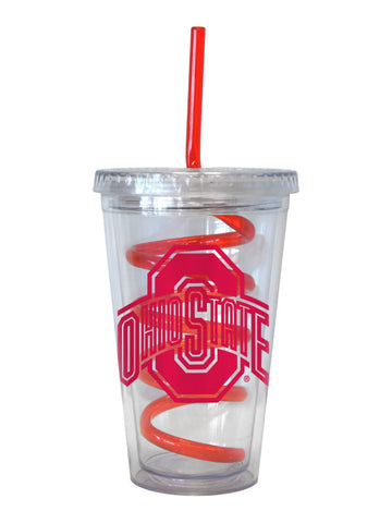 Shop Ohio State Buckeyes NCAA Boelter Clear Tumbler Cup with Red Crazy Swirl Straw