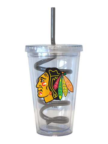 Shop Chicago Blackhawks NHL Boelter Clear Tumbler Cup with Black Crazy Swirl Straw
