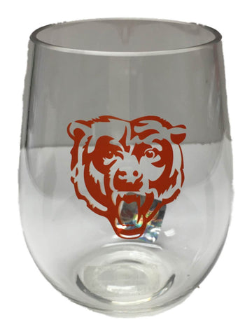 Chicago Bears NFL Boelter BPA Free Clear Stemless Plastic Wine Glass (20oz)