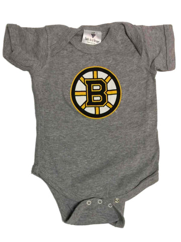 Shop Boston Bruins SAAG BABY INFANT Gray Lap Shoulder Short Sleeve One Piece Outfit