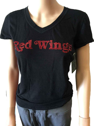 Shop Detroit Red Wings SAAG WOMEN Black Sequin Burnout SS V-Neck T-Shirt