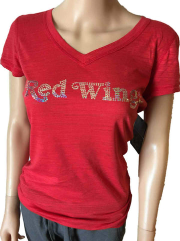 Shop Detroit Red Wings SAAG WOMEN Red Sequin Burnout SS V-Neck T-Shirt