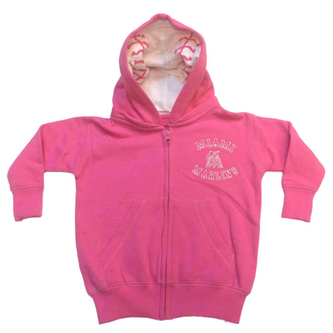 Shop Miami Marlins SAAG BABY INFANT GIRLS Pink Full Zip Fleece Baseball Jacket - Sporting Up