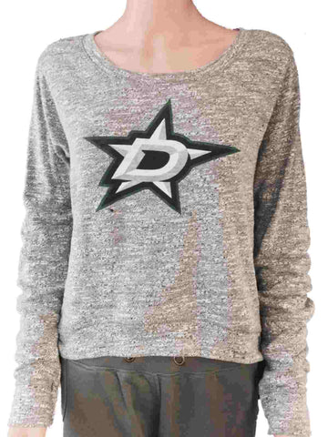 Shop Dallas Stars SAAG WOMEN Gray Static Tri-Blend Cropped Long Sleeve Sweater
