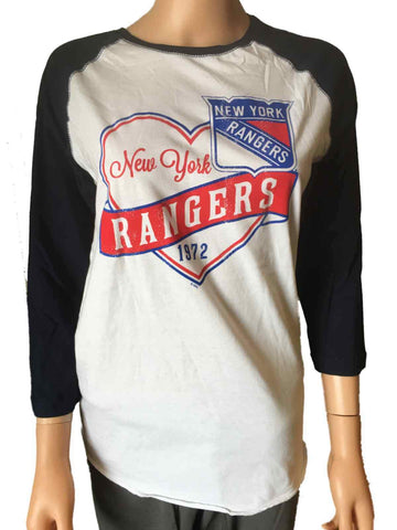 New York Rangers SAAG WOMEN White & Navy 100% Cotton 3/4 Sleeve T-Shirt