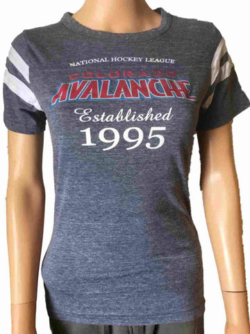 Shop Colorado Avalanche JUNIOR WOMEN Faded Blue Tri-Blend Jersey Style T-Shirt