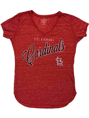 St. Louis Cardinals SAAG WOMEN Red Vintage Ultra Soft V-Neck T-Shirt