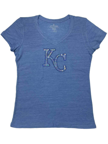 Kansas City Royals SAAG WOMEN Light Blue Sequin Burnout V-Neck T-Shirt - Sporting Up