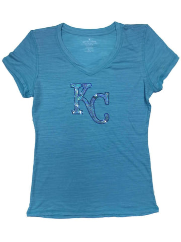 Kansas City Royals SAAG WOMEN Turquoise Sequin Burnout V-Neck T-Shirt - Sporting Up